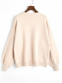 Solid Full Crew Fashion Pullovers Pullover Oversized Lantern Sleeve Sweater