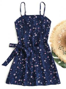 No Summer Floral Bowknot and Hollow Sleeveless Spaghetti Mini A-Line Day and Vacation Fashion Tiered Bowknot Cut Out Mini Dress