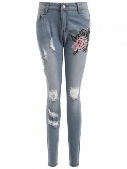 Skinny Normal Light Embroidered Authentic Denim Ripped Skinny Jeans