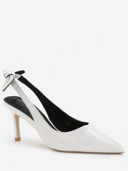 7CM Spring/Fall PU Party Bowknot Stiletto Pointed Closed Slingbacks Stiletto Heel Bowknot Leisure Pumps