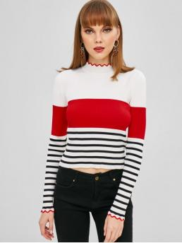Autumn and Spring and Winter Striped Elastic Full Mock Short Slim Fashion Daily and Going Pullovers Color Block Stripes Ribbed Sweater