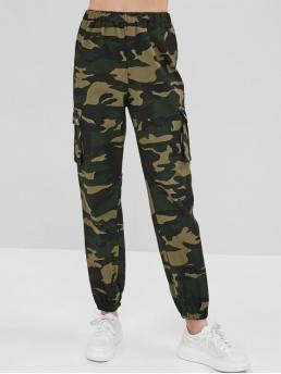 Fall and Spring Elastic Cargo Camo Pockets Regular High Fashion Camo High Rise Jogger Pants