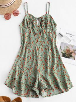 Summer No Ruffles Floral Sleeveless Spaghetti Loose Casual Casual and Going Ruffle Hem Floral Print Wide Leg Romper