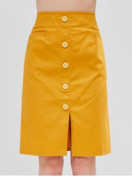 Fall and Spring Elastic Button and Pockets Solid A-Line Knee-Length Daily and Going Fashion High Rise Buttoned Slit Skirt