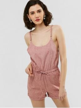 Summer No Others Sleeveless Spaghetti Regular Casual Casual  and Going Cuffed Hem Heather Cami Romper