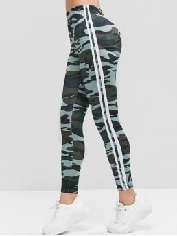 Fall 7/8 Camo and Striped High Daily and Sports Casual Camouflage Side Striped High Waist Leggings