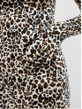 No Fall and Spring Leopard Long Mock Mini Bodycon Cocktail Fashion Leopard Print Mock Neck Bodycon Party Dress