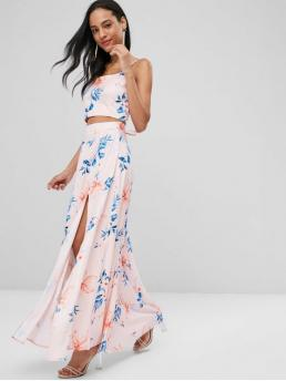 No Summer Lace Floral Flat Zipper High Sleeveless Spaghetti A Fashion Casual and Daily Lace Up Floral Slit Skirt Set