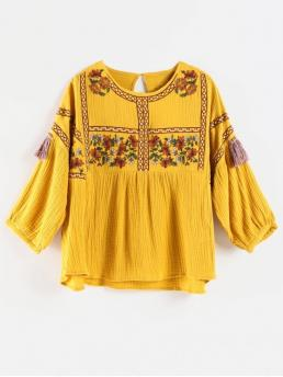 Autumn Embroidery and Tassel Floral Three Drop Regular Round Fashion Daily Flower Embroidered Tassel Blouse