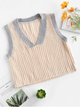 Elastic Sleeveless V-Collar Regular Loose Casual Vest/Sleeveless Contrast Chunky Sweater Vest