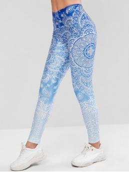 Fall and Spring Full Floral and Ombre High Daily and Sports Fashion Ombre Boho Flower Skinny Leggings
