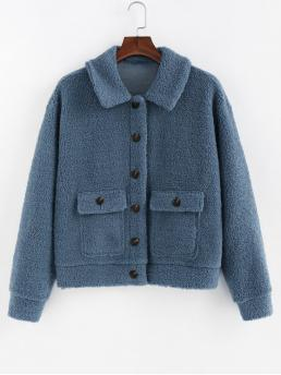 Autumn and Winter Pockets Solid Single Shirt Drop Full Regular Wide-waisted Fashion Jackets Daily and Going Faux Shearling Flap Pocket Fluffy Jacket
