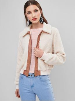 Full Sleeve Wide-waisted Polyester Others Colorblock Zip up Pocket Teddy Coat Fashion