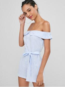 Summer Yes Button Striped Short Off Regular Fashion Daily Off Shoulder Striped Romper