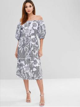 Yes Spring and Summer Floral 1/2 Puff Off Mid-Calf Straight Casual and Day Brief Puff Sleeve Flower Print Shift Belted Dress