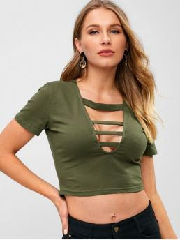 Summer Solid Short Plunging Crop Sexy Lattice Plunging Crop T-shirt
