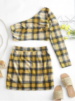 Fall Plaid Flat Zipper High Long One Slim Fashion Daily and Going Corduroy Plaid One Shoulder Two Piece Dress Set