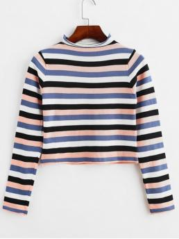 Autumn and Spring and Winter Striped Elastic Full Mock Short Slim Fashion Daily and Going Pullovers Mock Neck Cropped Colorful Stripes Sweater