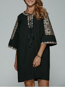 Fall and Spring No Geometric 3/4 V-Collar Mini Straight Bohemian Embroidered Lace Up Black Shift Dress