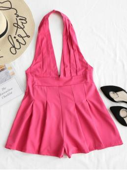 Rose Red No Backless and Pleated Solid Loose Casual Backless High Waist Halter Romper