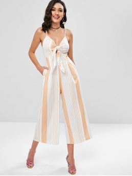 Fall and Spring and Summer No Striped Sleeveless Spaghetti Regular Elegant Going Striped Tie Front Wide Leg Culotte Jumpsuit
