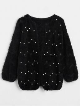 Autumn and Spring and Winter Pearls Elastic Full Round Regular Regular Fashion Cardigans Solid Color Beaded Fleece Cardigan