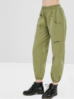Fall No Elastic Jogger Ninth Letter Pockets Loose Mid Casual Letter Embroidered Pocket Jogger Pants