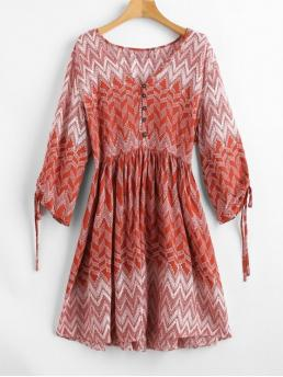 No Fall and Spring and Summer Print 3/4 Plunging Mini A-Line Casual and Vacation Brief Plunge Zigzag Print Peasant Dress