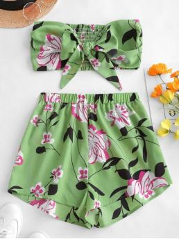 No Summer Floral Flat Elastic High Nonelastic Sleeveless Strapless Regular Fashion Beach Tie Front Floral Bandeau Top And Shorts Set