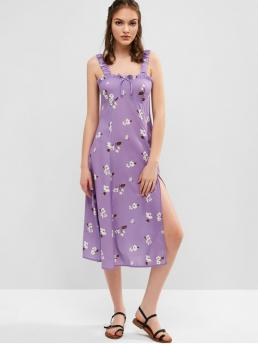 No Summer Nonelastic Floral Bowknot and Slit Sleeveless Straps Mid-Calf A-Line Vacation Fashion Bowknot Slit Floral Midi Dress
