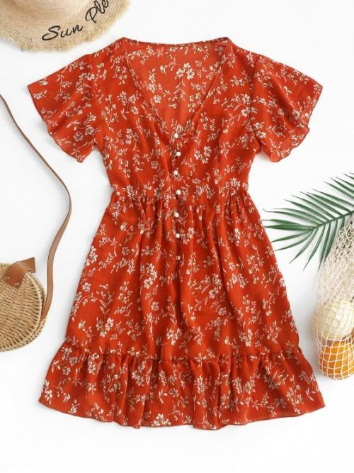 No Summer Floral Ruffles Short V-Collar Mini A-Line Day and Vacation Fashion Ruffles Half Buttoned Floral Mini Dress