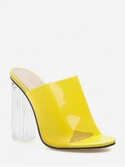 Summer PVC 11CM Rubber Solid Slip-On Chunky Slides Daily and Office Fashion For PVC Clear Super High Heel Slides