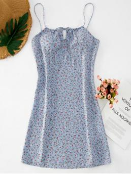 No Summer Floral Sleeveless Spaghetti Mini Sundress A-Line Beach and Casual  and Day and Vacation Fashion Ditsy Floral Short Cami Summer Dress