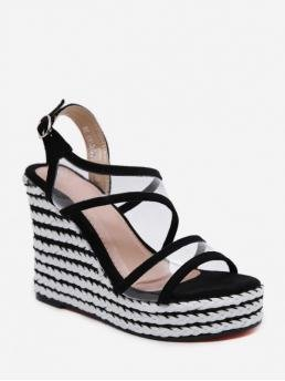 Summer PVC and Suede 12CM TPR Patchwork Buckle Wedge Ankle Casual and Daily Fashion For Striped PVC Super High Wedge Sandals