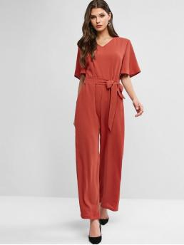 Fall and Spring No Solid Nonelastic Short Flare V-Collar Normal Loose Casual Daily V Neck Flare Sleeve Belted Palazzo Jumpsuit