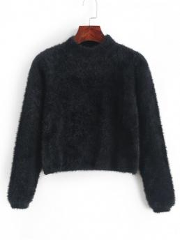 Autumn Solid Elastic Full Mock Short Regular Casual Daily Pullovers Solid Color Crop Fluffy Sweater