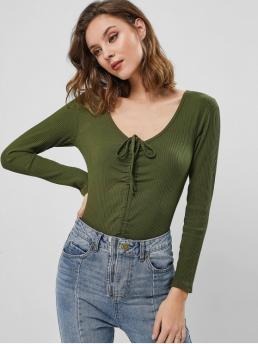 Fall Solid Long V-Collar Casual Daily Cinched Ribbed V Neck Solid Bodysuit