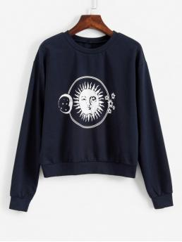 Autumn Moon and Star and Sun Nonelastic Full Short Crew Sweatshirt Sun and Moon Graphic Cropped Sweatshirt