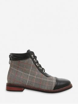 Vintage Synthetic Zip Plaid Low Round Ankle Fall and Spring Fashion For Leather Trim Houndstooth Ankle Boots