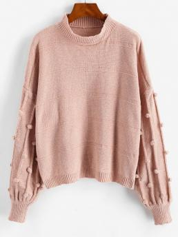 Full Sleeve Pullovers Polyester Solid Dotted Bubble Pompom Chenille Sweater Sale