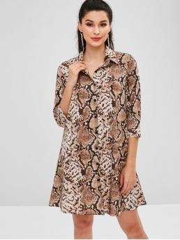 No Fall and Spring and Summer Snake 3/4 Shirt Mini A-Line Casual and Day and Work Casual Snake Print Mini Tunic Shirt Dress