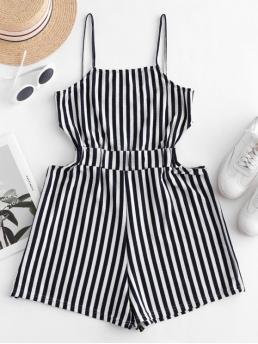 Summer No Cut Striped Elastic Sleeveless Spaghetti Mini Regular Fashion Daily and Vacation Ribbed Cut Out Stripes Cami Romper