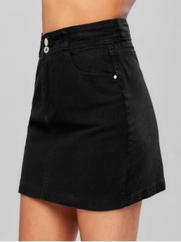 No Spring and Summer Zipper Pockets Solid A-Line Mini Daily and Going Fashion Zipper Fly Pocket Denim Skirt