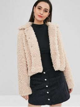 Full Sleeve Wide-waisted Polyester Solid Fluffy Faux Fur Short Winter Teddy Coat Pretty