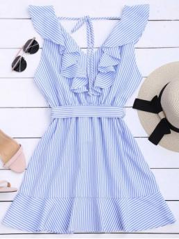 Summer Yes Striped Sleeveless V-Collar Mini A-Line Causal and Going Casual Ruffle Hem Striped Belted Dress