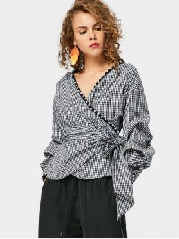 Autumn and Spring Embroidery Plaid Full Regular V-Collar Fashion Casual Checked Faux Pearl Wrap Blouse