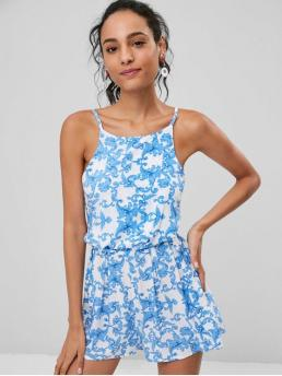 Summer No Print Sleeveless Spaghetti Regular Fashion Going Cami Knotted Printed Romper