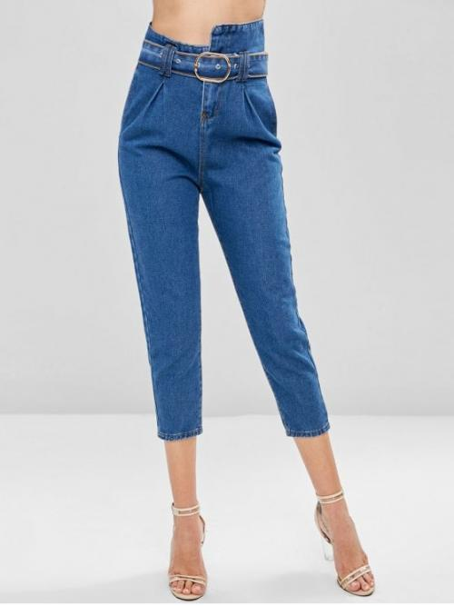 Fall and Spring and Winter Belt Zipper High Loose Capri Medium Casual High Waisted Belted Boyfriend Jeans