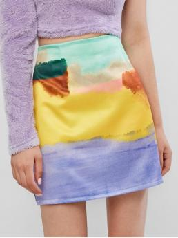 Summer Zipper Tie A-Line Mini Daily and Going Fashion Abstract Color Block Tie Dye Mini A Line Skirt