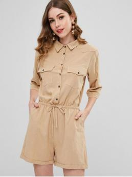 Spring and Summer No Pockets Solid 3/4 Shirt Loose Fashion Daily Drawstring Casual Shirt Romper